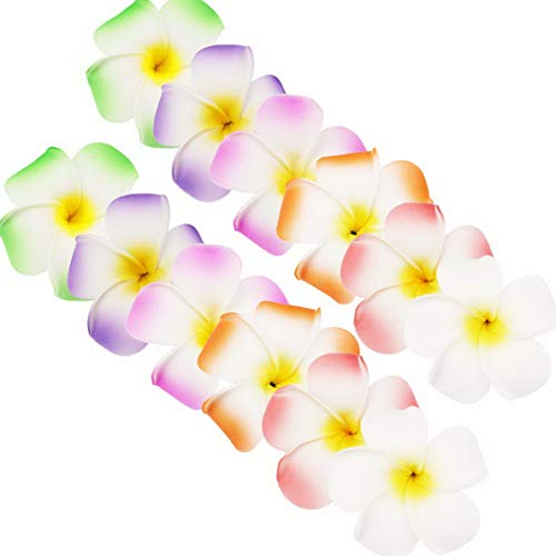 Mikash Hawaiian Plumeria Flower Hair Clip Plumeria Flower Hair Foam Hawaii Hair Accessory for Beach Party Wedding Event Tion Set of 12 Pcs | | Model WDDNG - 2248 -