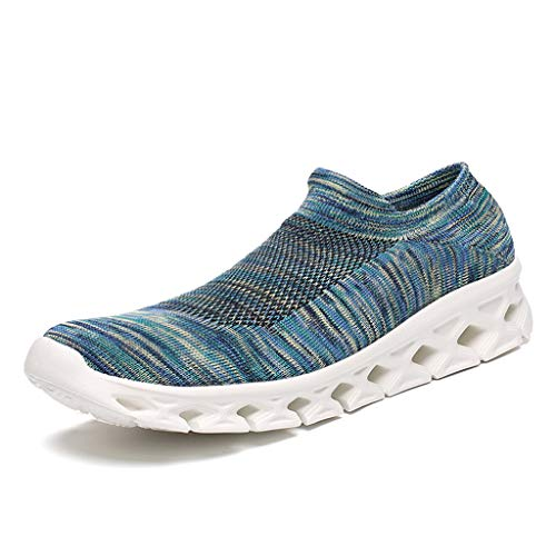 - Socks Walking Shoes Women Men - Fashion Causal Lightweight Breathable Mesh Slip On Running Sneakers Light Blue