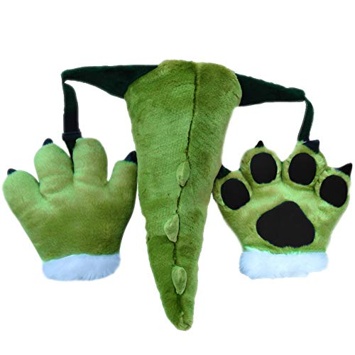 TINTON LIFE 3 Pack Fluffy Dinosaur Cosplay Costume Set Soft Plush Animals Ears Headband Tail Paws for Adult -