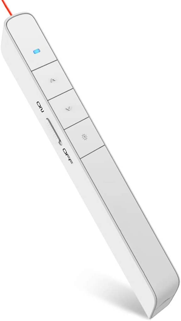 YFDD Presentador inalámbrico, 100m Remoto Presentación hipervínculo/Interruptor de la Ventana de Control USB Recordatorio PowerPoint PPT clicker Oficina punteros de batería Baja, Blanca aijia