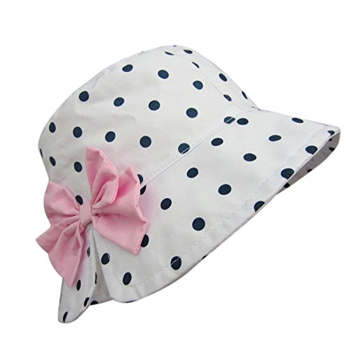 Happy Cherry Girls 100% Cotton Polka Dots Bucket Hat Pink Bowknot Floppy Hat