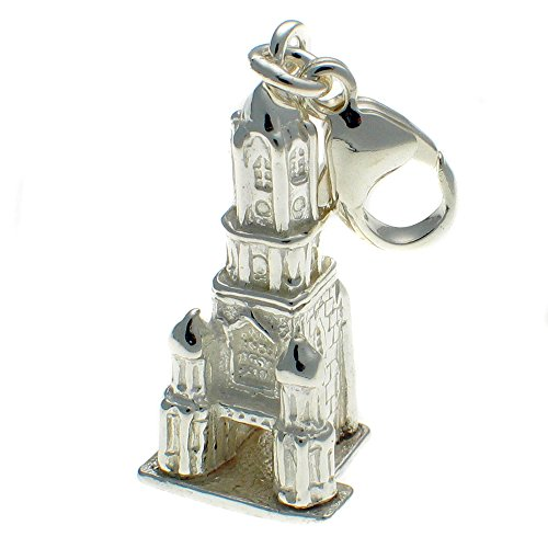Sterling 925 Silver Tom Tower, Christchurch University, Oxford England Clip On Charm Pendant. Handmade by Welded Bliss WBC1595
