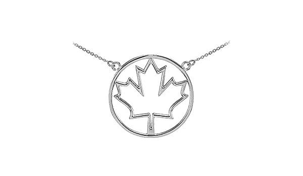 Dainty 925 Sterling Silver Open Design Maple Leaf Pendant Necklace