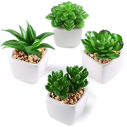 MyGift Artificial Mini Succulent Plants in White Ceramic Planters, Set of 4 by MyGift