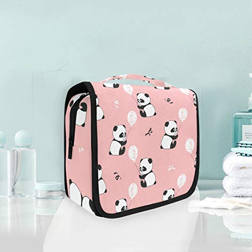 Makeup Bag Cosmetic Storage Bag Art Cute Panda Bears Balloons Pattern Toiletry Portable