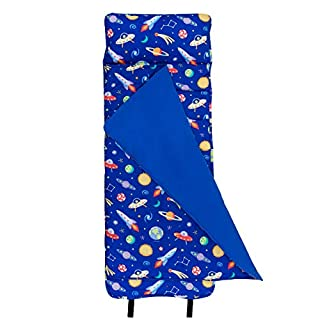 Wildkin Original Nap Mat with Pillow for Toddler Boys and Girls, Ideal for Daycare and Preschool, Measures 50 x 1.5 x 20 Inches, Mom's Choice Award Winner, BPA-Free, Olive Kids (Out of this World)
