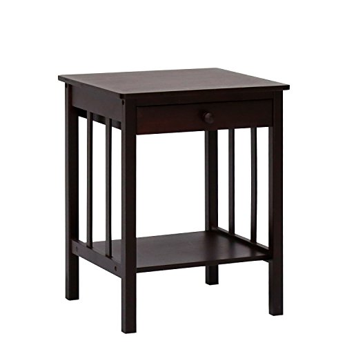 Kinbor Bamboo Retro Night Stand with Drawer and Shelf Storage Multipurpose End Side Table Home Furniture