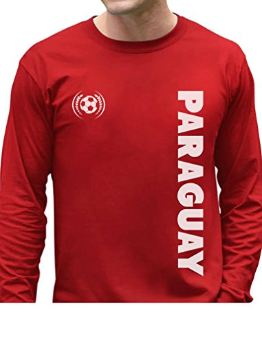TeeStars - Paraguay National Soccer Team Football Fans Long Sleeve T-Shirt X-Large Red ()