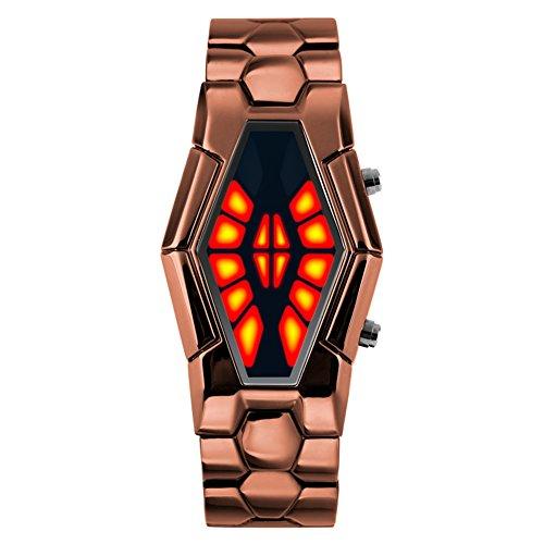 Men's waterproof sports watch,Cobra shape zinc alloy strap fashion cool two-color led boot animation wristwatch-A Animation Sports Quartz Watch