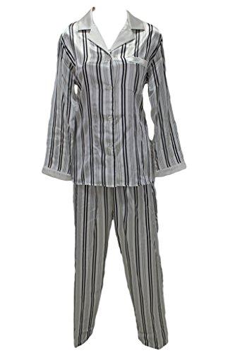 Brushed Back Satin Pajamas - Miss Elaine New Black White Stripe Satin Pajamas Set Small