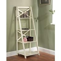 Classic, Elegant Functional X 4-Tier Shelf, MDF Construction, Antique White