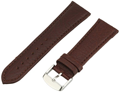 Hadley-Roma Men's MSM899RB-240 24-mm Brown Shrunken Grain Leather WatchStrap (Shrunken Leather)