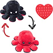 Octopus Plushie Reversible with Push Pop Bubble Toy - Cute and Soft Flippy Mood Octopus Plush Doll - Happy Sad