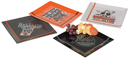 Harley Davidson Plates - Harley-Davidson Pit Stop Snack Plate Set, Set of 4-8 x 8 inches HDL-18575