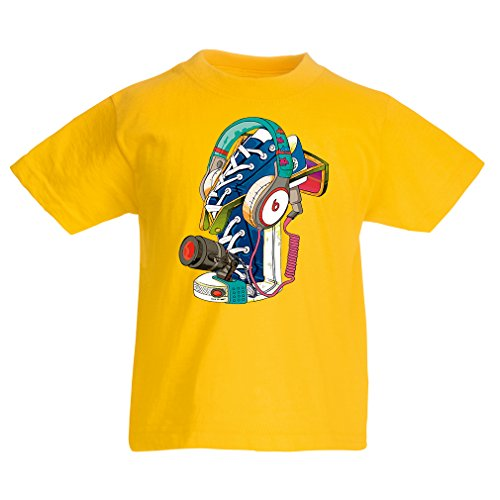 lepni.me Kids T-Shirt Street Art Sneakers with Headphones - Music, Party, Hiphop. Hipster, Alternative Fashion (1-2 Years Yellow Multi Color)