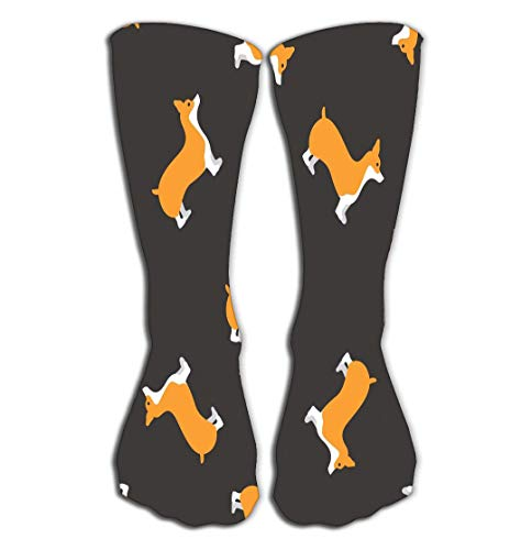 - Xunulyn Outdoor Sports Men Women High Socks Stocking Welsh Corgi Dog Seamless Design Tile Length 19.7