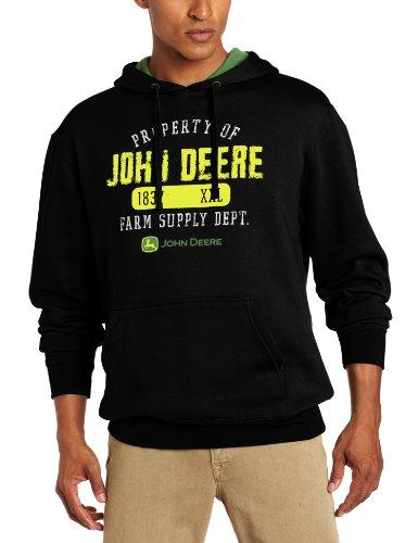 John Deere 'Property of John Deere' Fleece Hoodie - Men's - Black, Large (John Deere Mens Sweatshirt)