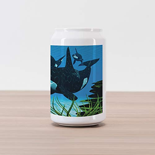 (Lunarable Whale Cola Can Shape Piggy Bank, Pod of Killer Whales Swim Along a Reef Looking for Fish Prey Ocean Picture Print, Ceramic Cola Shaped Coin Box Money Bank for Cash Saving, Sky Blue Green)