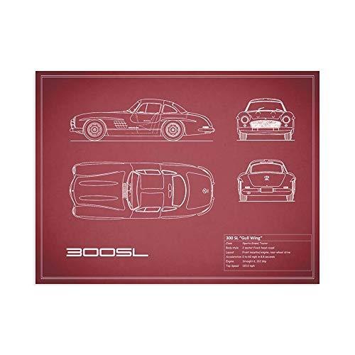 Print on Canvas Wall Art Rogan, Mark Mercedes 300SL Gullwing-Maroon Size 20x 28 (70x50 cm) ()