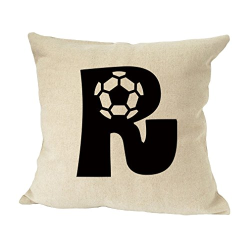 ''R '' Soccer Initial Monogram Letter R Bed Home Decor Faux Linen Pillow Cover by Style in Print