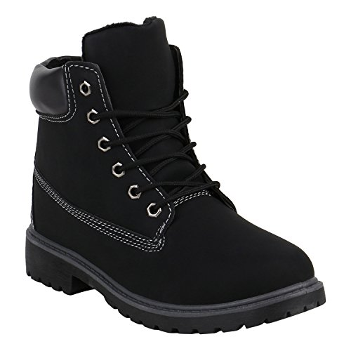 Stiefelparadies Damen Herren Unisex Worker Boots mit Blockabsatz Profilsohle Flandell Schwarz Camiri