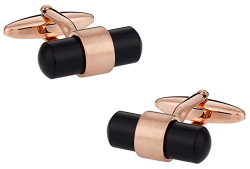 Cuff Daddy Gold Cufflinks (Cuff-Daddy Rose Gold Black Banded Cufflinks with Presentation Box)