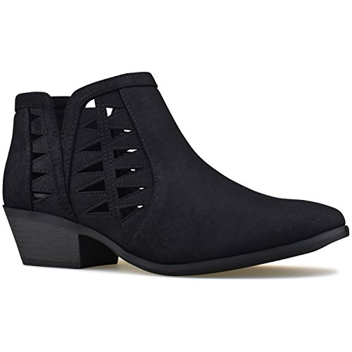 Heel Boots Stacked Cutout Block Bootie Perforated Chunky Premier Standard Black Women's Ankle q0wwZ7