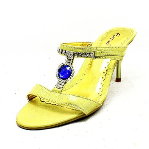 Gold high heel mules / sandals with large blue jewels
