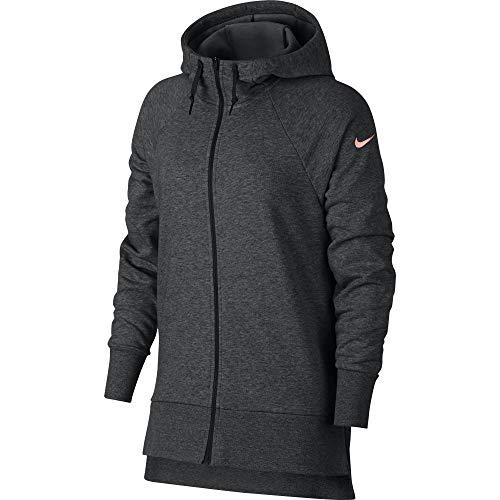 (Nike Women's Dry Full Zip Training Hoodie Black Heather/Storm Pink Size XX-Large)