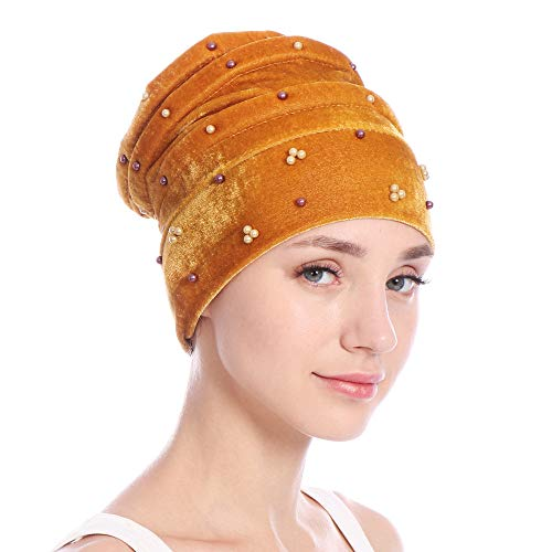 GOVOW Wrap Caps for Hair Women Velvet India Hat Muslim Ruffle Cancer Chemo Beanie Scarf Turban Gold -