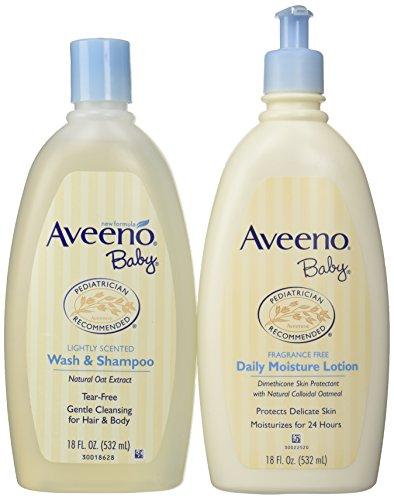 Bundle: Aveeno Baby Daily Moisture Lotion, 18 Ounce + Aveeno Baby Wash & Shampoo, 18 Ounce