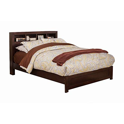 Benzara BM186143 Wooden Full Size Platform Bed with Bookcase Headboard, Brown
