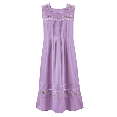 Women's Long Cotton Sleeveless Nightgown Pajama with Floral Embroidery & Pintuck Bodice, Lavender, ()