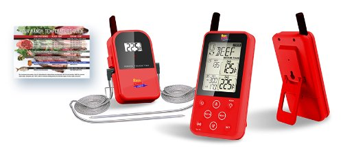 Maverick ET-733 Long Range Digital Wireless Meat Thermometer Set Dual Probe and Dual Temperature Monitoring With Meat Temperature Magnet Guide - Red by Maverick