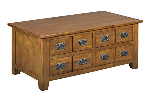 Mission Quarter Sawn Oak Coffee Table with Drawers on Both - Tables Sawn Oak Quarter