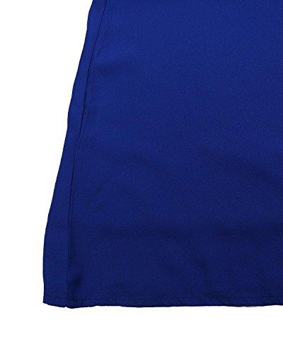 Casual Elegante Lunghe Spiaggia Sexy Styledome Vestito Donna Corto Reale Chiffon Shoulder Blu Off Maniche vq6f6twx
