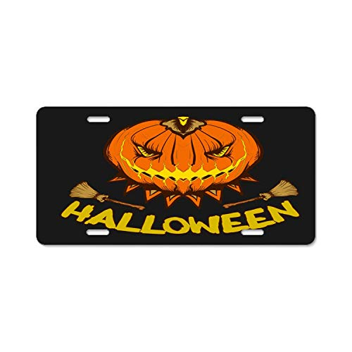YEX Abstract Halloween Pumpkin Scarry Horror Party License Plate Frame Car Licence Plate Covers Auto Tag Holder 6