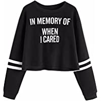 Women Pullover Sweatshirt,Napoo HOT Letters Print Round Collar Casual Blouse (S, Black B)