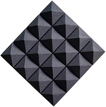 ピアノルーム音響パネル、スクエアベッドルームドラムルームレコーディングスタジオオフィス吸音綿10PCS (Color : Black)