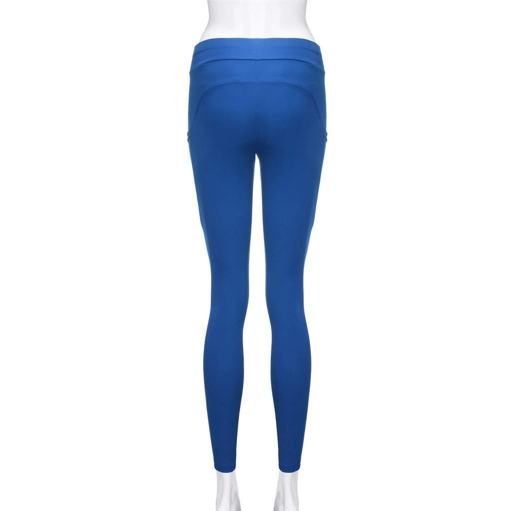 703bbac8771fa Amazon.com: Women's Fitness Sports Leggings Plus Size Tummy Control High  Waist Gym Running Yoga Pants Stretch Pocket Workout Pant: Clothing