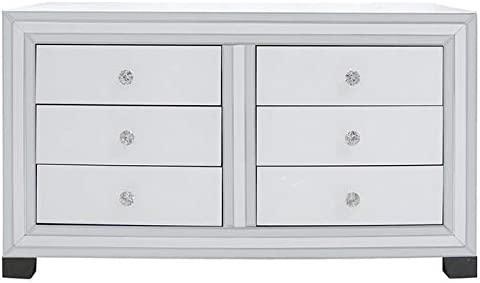 Abreo Venetian Mirror White Glass Mirror Trim 6 Drawer Chest High Gloss Bedroom Furniture Bedside Tables V Frame Console 3 Angled Drawers (White Trim 6 Drawer Chest)