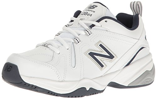 (New Balance Men's MX608v4 Training Shoe, White/Navy, 12 D US)