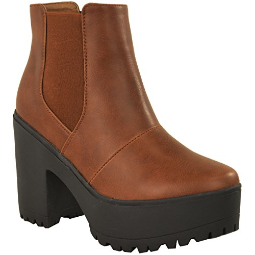 - Fashion Thirsty Womens Chelsea Ankle Boots Chunky Platforms Block High Heels Slip On Size 5