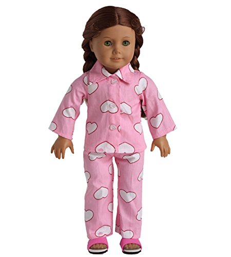 Doll Clothes 2pc Pink Sleepwear Pajamas Fits 18 Inches Ameri