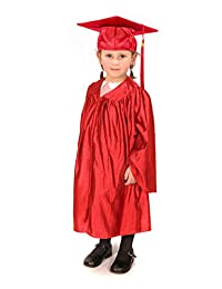 Childrens graduation gowns (age 3-5) and matching cap (shiny look) (Red)