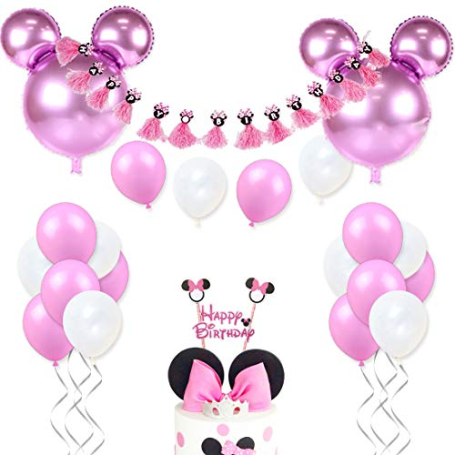 Minnie Mouse Birthday Decorations for Girls Pink Minnie Party Supplies with Minnie Mouse Head Balloons, Happy Birthday Banner and Cake -