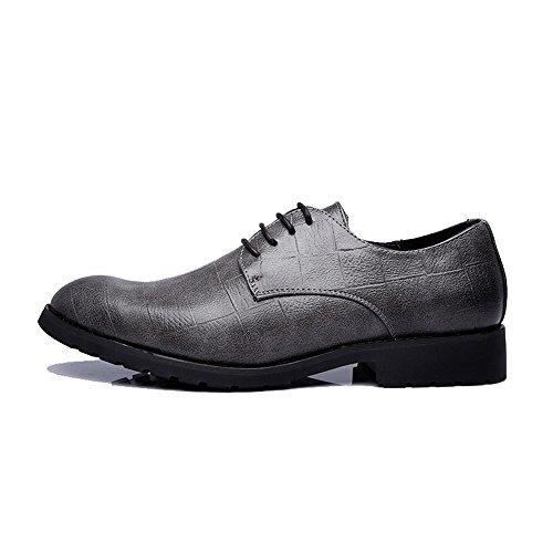 amp;Baby Cuir Mocassins gray Hommes Texture Top Résistant Up à Oxfords L'Abrasion Classique Sunny Up Chaussures Low Lace Carrée PU Business en dYyRP