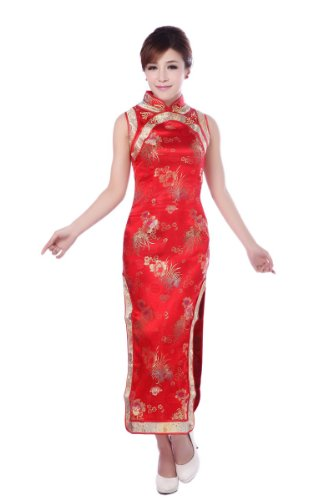 JTC Banquet Cheongsam Chinese Dress Han Costume Both Side Slit Skirts Silk Qipao (US 0)