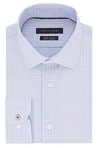 Tommy Hilfiger Men's Non Iron Slim Fit Stripe Spread Collar Dress Shirt, Bright Blue, 15