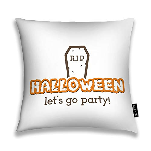 Randell Throw Pillow Covers Halloween Rip Party Label Tombstone Elements Home Decorative Throw Pillowcases Couch Cases 26